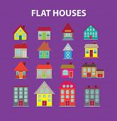 flat houses, buildings isolated icons, signs, illustrations, silhouettes set, vector on background for web and mobile