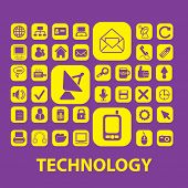 technology, internet, information isolated icons, signs, illustrations, silhouettes set, vector on b