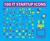 100 business startup, internet business, technology isolated icons, signs, illustrations, silhouette