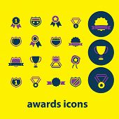 awards icons, signs, symbols, illustrations, vectors set