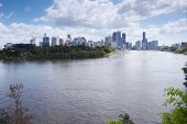 Brisbane, Australia - 26th September, 2014: View from Kangaroo point overlooking Brisbane City and r
