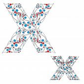 Letter X. Bright element alphabet. ABC element in vector.