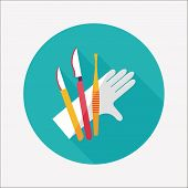 Surgical Instrument Flat Icon With Long Shadow
