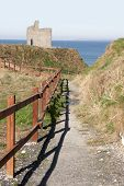 Fenced Path To Ballybunion Beach And Castle