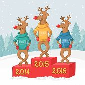 three deer on a pedestal. Winter forest landscape.