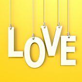 Love Word In Orange Background