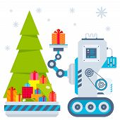 Vector Illustration Of The Gnome Operates The Machine, That Puts The Presents Under The Christmas Tr