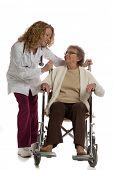 Home Care Nurse Push Senior on Wheelchair on Isolated White Background