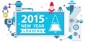 image of gnome  - Vector horizontal illustration of the gnome operates the machines that holds Christmas billboard showing loading of the new year - JPG