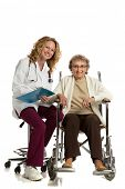 Home Care Nurse Checking with Senior on Wheelchair on Isolated White Background