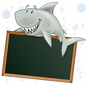 foto of great white shark  - Great illustration of a Cute Cartoon Great White Shark holding a Blank Chalkboard style Restaurant Sign - JPG