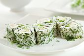 Green Maki Sushi - Roll made of Chicken, Cream Cheese, Lettuce and Cucumber inside. Dill outside