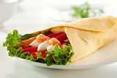 Fresh Salmon Burrito with Cream Cheese and Vegetables