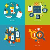 Set of flat design concepts for medical icons mobile apps and web design.