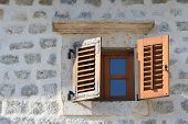 Wooden Window With Shutters Close-up In An Old House