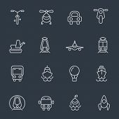 Transport icons - thin line design on dark background