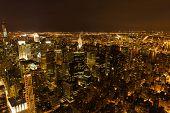 top view of new york city manhattan at night