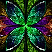 Beautiful Fractal Flower In Green And Purple. Computer Generated Graphics.