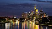 stock photo of frankfurt am main  - Skyline of Frankfurt am Main city after sunset - JPG