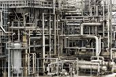 picture of refinery  - Pipelines of a oil and gas refinery industrial plant - JPG