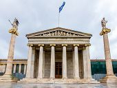 stock photo of socrates  - The main building of the Academy of Athens - JPG