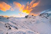 Sunrise behind Monte Rosa