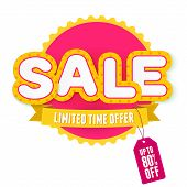 Yellow and pink label Sale. Vector illustration for advertising