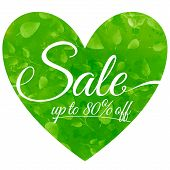 sale on green heart with leaves. Seasonal sales background.