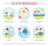 lifestyle elements for infographics, flat vector