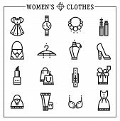 Accessories women icons vector line