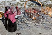 Red Wine With Glasses Ready To Be Served