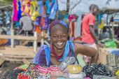 Dakar, Senegal, Africa - July 20, 2014: Unidentified street seller, Sandaga Market