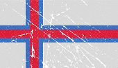 stock photo of faro  - Flag of Faroe Islands with old texture - JPG