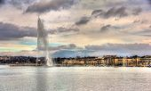 stock photo of fountains  - View of Geneva with the Jet d - JPG