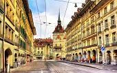 Spitalgasse Street And Kafigturm Tower - Unesco Heritage Site In Bern, Switzerland