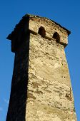 Ancient Abandoned Fortress Tower In Upper Svaneti,traditional Svan Architecture, Ushguli,Georgia