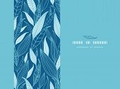 Blue Bamboo Leaves Horizontal Seamless Pattern Background
