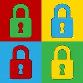 Pop Art Lock Simbol Icons.