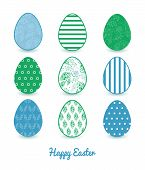 Vector abstract blue and green leaves set of nine colorful Easter eggs card template