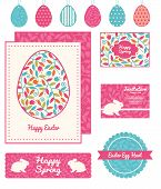Vector colorful branches set of Easter cards, labels, tags and banners templates