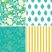 Vector emerald flowerals set of four marching repeat patterns