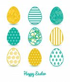 Vector emerald flowerals set of nine colorful Easter eggs card template