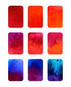 Vector set of gradient watercolor elements for design isolated on white