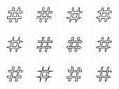 Icon Set of hashtags. Hashtag Symbols
