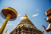 Golden pagoda in the temple Lampang ,Thailand