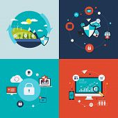 Flat design vector concept illustration with icons of ecology, environment, social network security