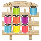 Wood Rack, Needle And Summer Bright Sewing Threads