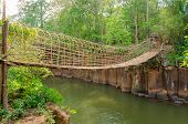 Bamboo Bridge Over The River In Tad Pha Souam Waterfall At Paksa South Laos
