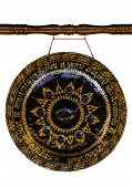 Laos Native Gong Isolated On White Background In Temple