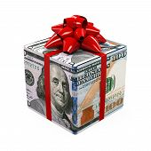 stock photo of money prize  - US Dollar Money Gift Box isolated on white background - JPG